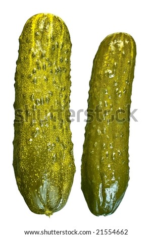 Two pickled cucumbers front view isolated on white background - stock photo