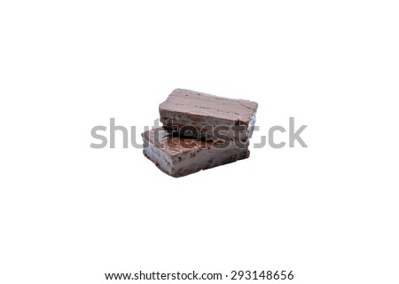 two pieces delicious chocolate bar isolated on white background - stock photo