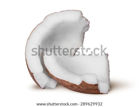 Two pieces of coconut pulp rotated isolated on white background