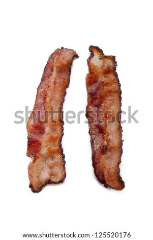 Two pieces of crispy bacon displayed on white background. - stock photo