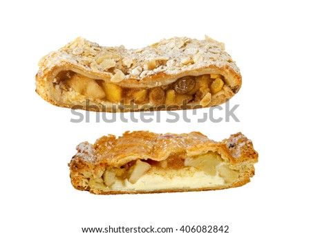 Two pieces of delicious Apple Strudel - stock photo