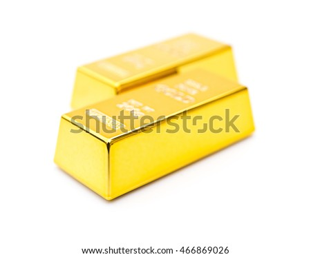 two pieces of gold bar on a white background