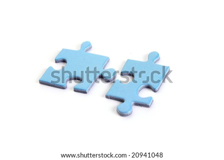 Two pieces of puzzle, isolated on white background
