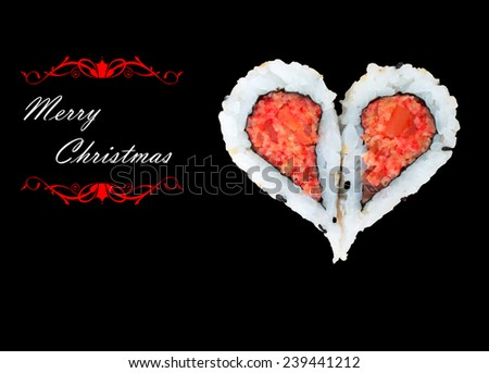 Two pieces of sushi forming the heart shape, Merry Christmas - stock photo