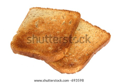 two pieces of toast #2- pure white background - stock photo