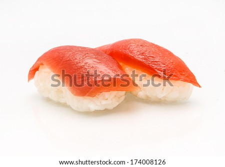 Two pieces of tuna nigiri sushi