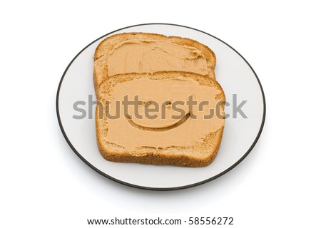 Two pieces of whole wheat toast isolated on a white background, Peanut Butter and Whole Wheat Toast