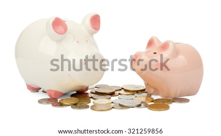 Two piggy bank on coins on isolated white background