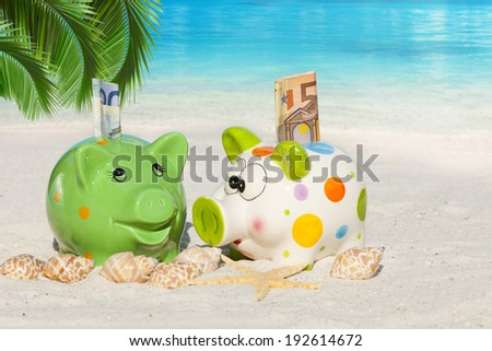 Two Piggy banks with banknotes, Seashells and Starfish on the beach under Palm Frond with much Copy Space for additional information