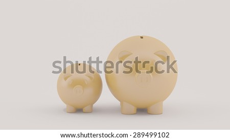 two piggy on floor, business concept - stock photo
