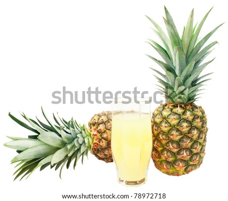 two pineapples and glass of juice isolated on white background - stock photo