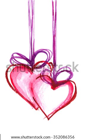 Two pink hearts hanging on ribbons painted in watercolor on white isolated background - stock photo