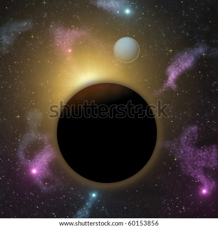 two planets and star with space background