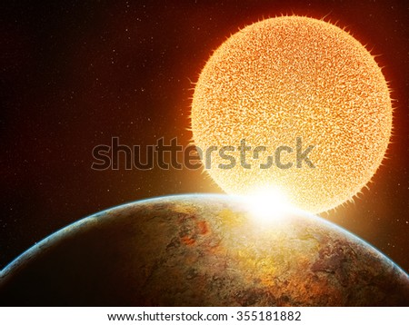 Two planets in moment of huge impact, catastrophic moment before huge explosion in space, cosmos - stock photo