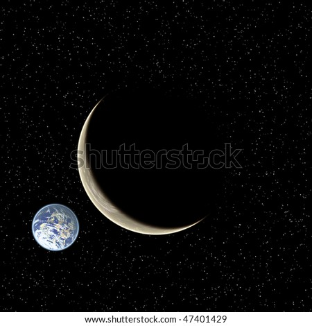 Two planets on starry sky background