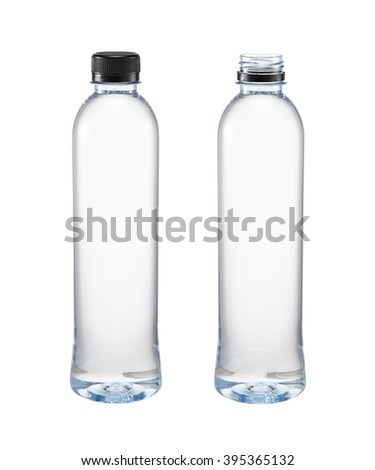 Two plastic bottle of water close and open caps isolated on a white background - stock photo