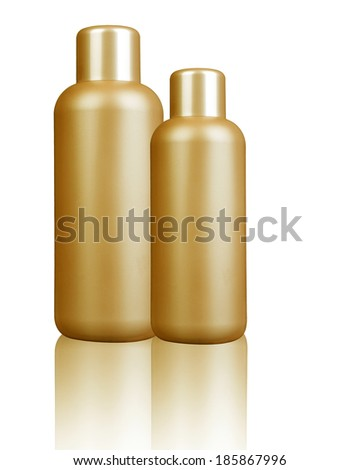 Two plastic bottle with soap or shampoo with space for your logo or text - stock photo