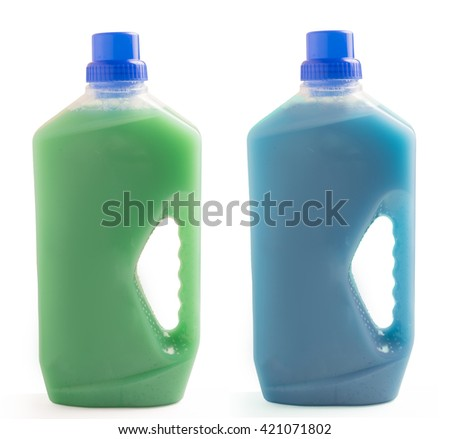Two plastic bottles of cleaning liquid isolated on white background - stock photo