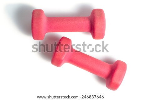 Two plastic coated dumbells isolated on white. Top view. - stock photo