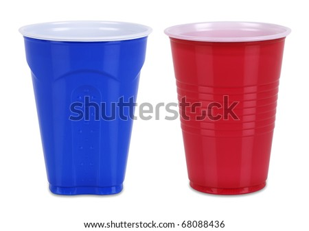 Two Plastic cups isolated on white with individual clipping paths - stock photo