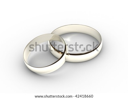 Two platinum wedding rings on white background