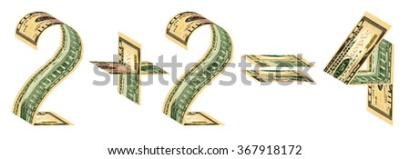Two plus two equals four made of ten dollar banknotes. Isolated on white - stock photo
