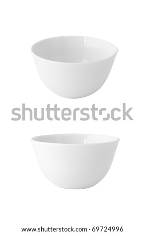 two points of view of a white china pot isolated - stock photo