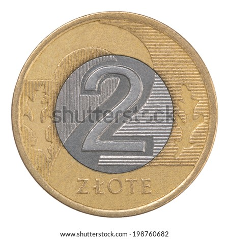 two Polish Zloty coin isolated on white background - stock photo