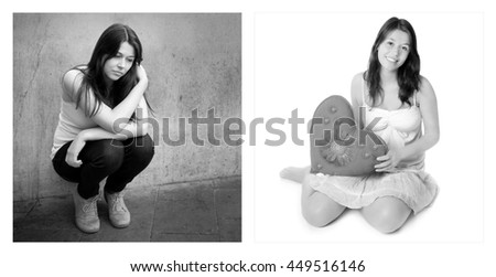 Two portraits of the same young girl. Emotion concept, left photo: sad and depressed, right photo: positive and happy, black and white - stock photo