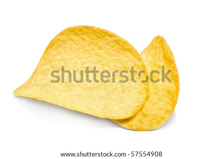 Two potato chips isolated on white background - stock photo