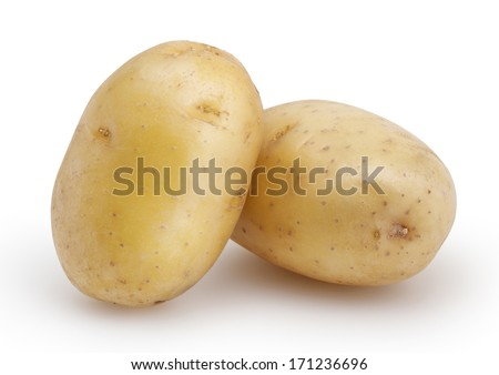 Two potatoes isolated on white background with clipping path - stock photo
