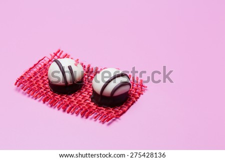 two pralines - stock photo
