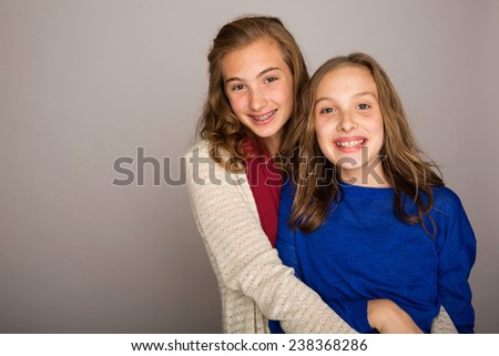 two pretty young girls - stock photo