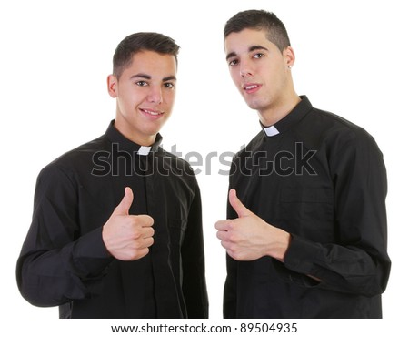Two priests with a thumbs up sign