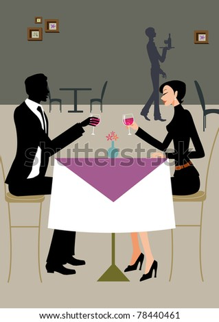 Two professional business people - one man and woman - having lunch and drinking wine at table - stock photo