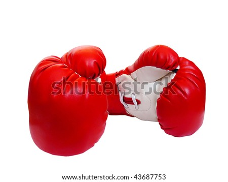 Two professional leather gloves of red-white colour for boxing - stock photo