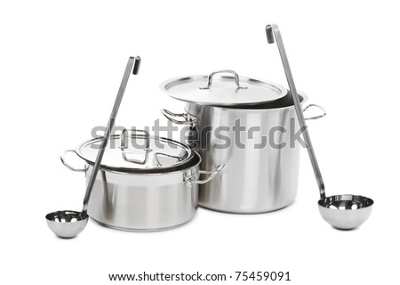two professional metal pots cooker with ladles isolated - stock photo