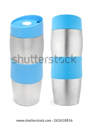 two projections of the metal thermos on a white background - stock photo