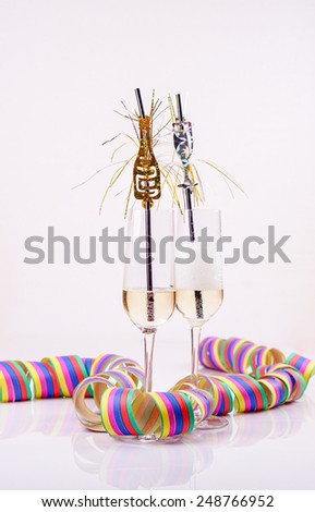 two prosecco with streamers - stock photo