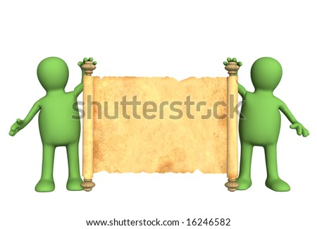 Two puppets with the ancient manuscript in a hands - stock photo