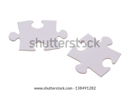 Two puzzle bricks which could fit together - stock photo