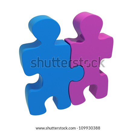 Two puzzles, blue man and purple woman