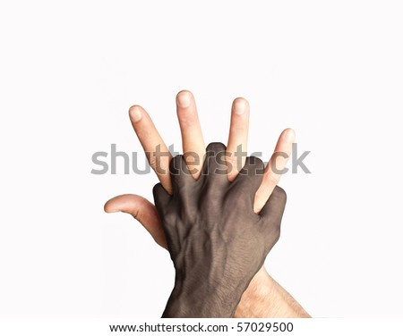 Two races hands mix - stock photo