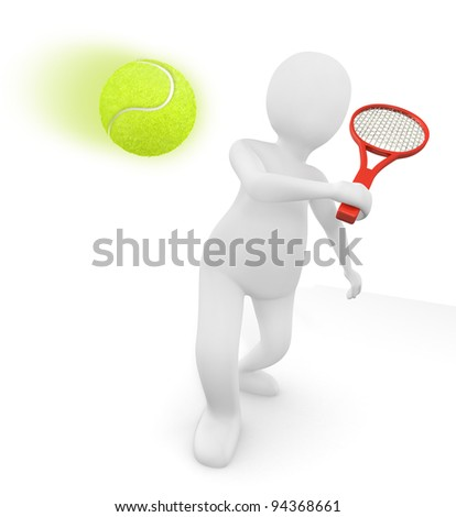 Two rackets and a tennis ball - stock photo