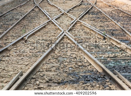 Two railway tracks merge for train transportation