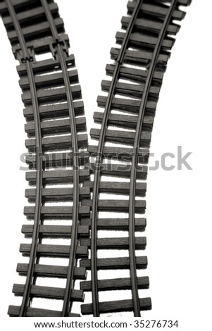 Two railway tracks over white background