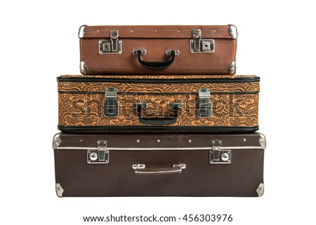two, rarity brown leather suitcase, on white background; isolated