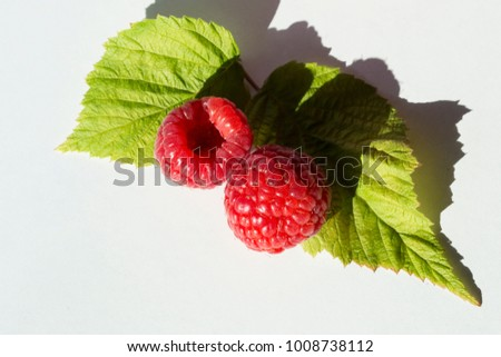 two raspberries and leaves