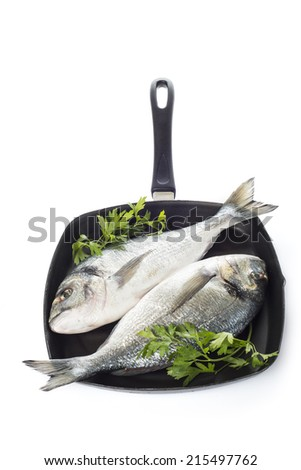 Two raw gilt-head sea bream fishes on a pan isolated over a white background - stock photo