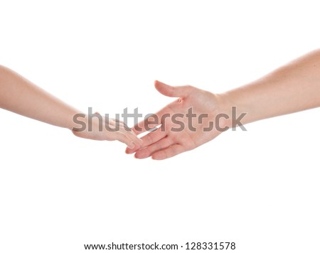 two reaching hands, mother and son isolated
